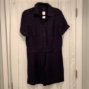 NWT Linen Navy Shorts Romper